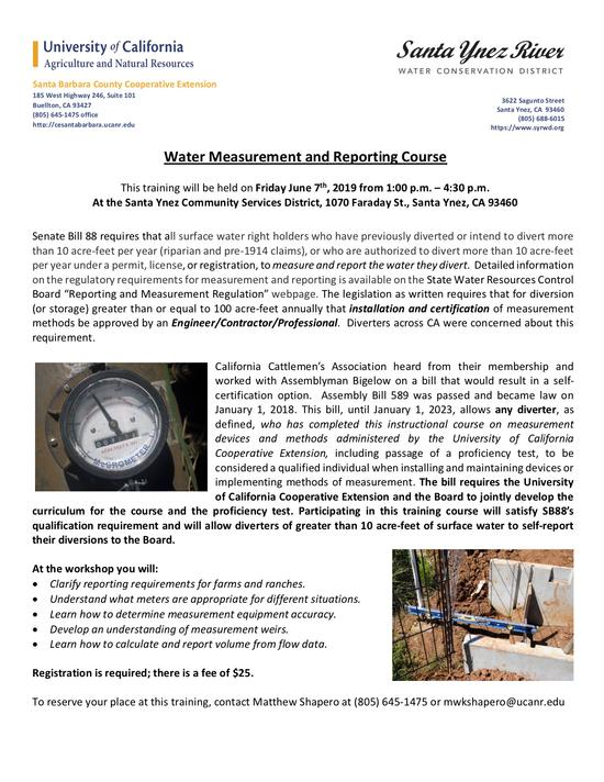 Water diversion course flyer